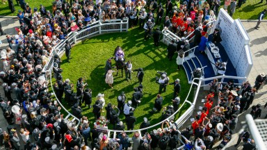 The coveted Epsom winner's enclosure after the Derby