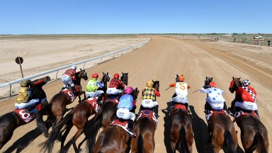 Away they go... runners at the remote Birdsville races on the edge of Queensland's Simpson Desert