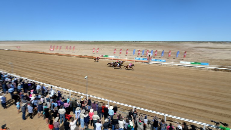 The Outback Way... crowds of around 8,000 people converge on Birdsville for a two day meeting in September