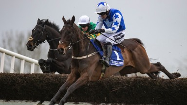 Darasso (far side) comes to tackle Cadmium in the Webster Cup Chase at Navan