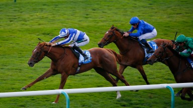 Queen Power - Harry Bentley wins from Nashirah - William Buick and Duneflower - Frankie Dettori at Newmarket in October ©cranhamphoto.com