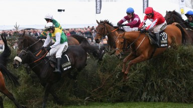 Many Clouds (number one) was well beaten by Rule The World (blue cap) in the 2016 National