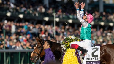 Frankie Dettori celebrates a historic victory on Enable at last year's Breeders' Cup