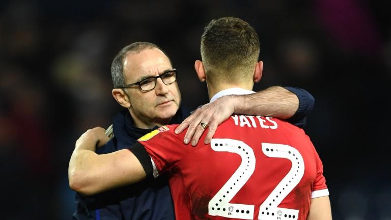 Nottingham Forest Martin O'Neill hugs Ryan Yates