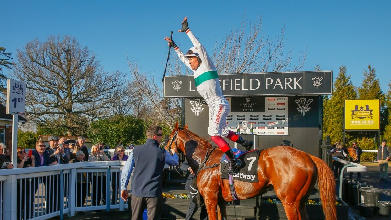 Frankie Dettori celebrates Wissahickon's victory in the Winter Derby at Lingfield this year