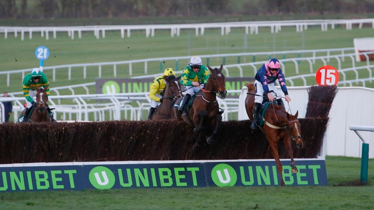 The closing stages of the National Hunt Chase with Jerrysback (left) trailing the leaders