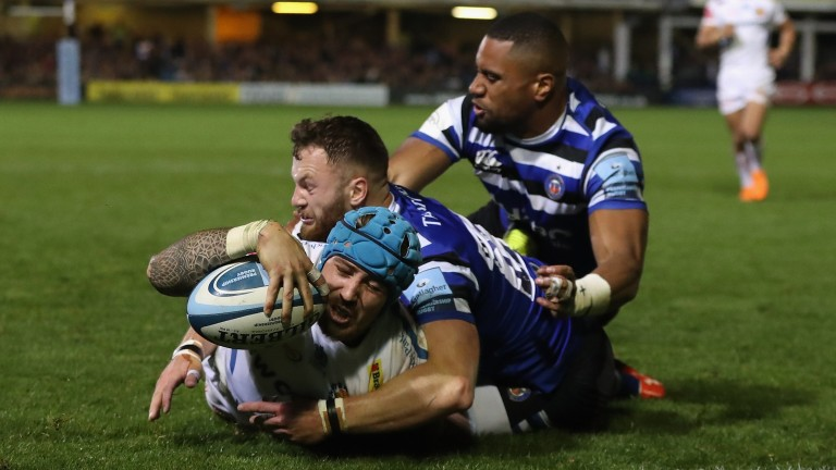 Exeter winger Jack Nowell scores a try against Bath at the Rec