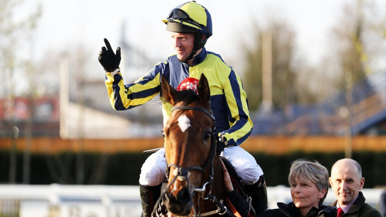Noel Fehily acknowledges the crowd after winning his last race before retirement on Get In The Queue