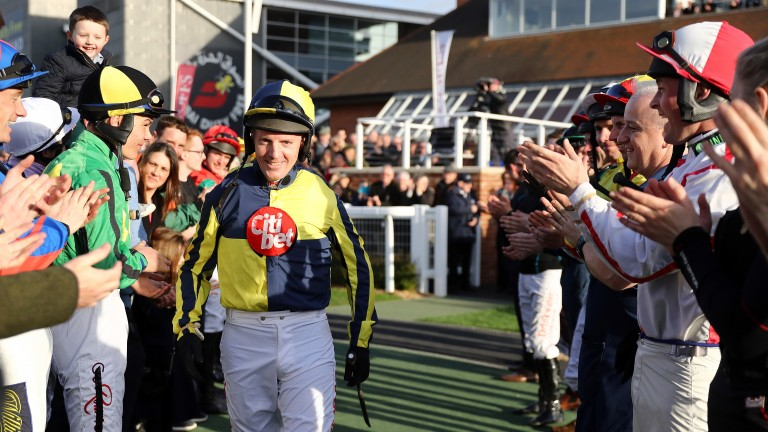 A guard of honour for retiring jockey Noel Fehily at Newbury ahead of his final ride