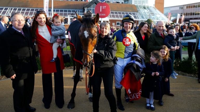 Noel Fehily with his family and winning connections after Get In The Queue won at Newbury on Saturday