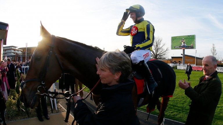 Noel Fehily celebrates after his last win as a jockey on Get In The Queue
