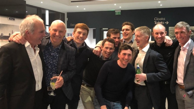 Celebration time (L-R): Geoff Whitfield, Graham Hollick, Sam Twiston-Davies, Tommy Carberry,Jerry McGrath, Marc Goldstein, David Bass, Noel Fehily, Wayne Hutchinson and Dave Crosse