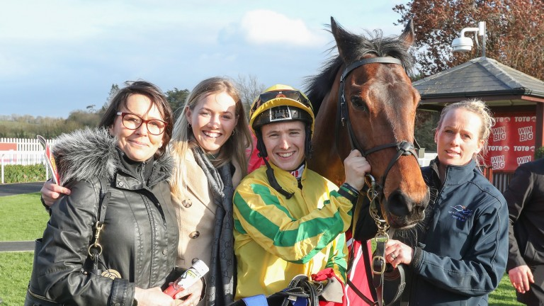 Karawaan and Colin Keane pose with some of the winning connections following their Irish Lincolnshire victory