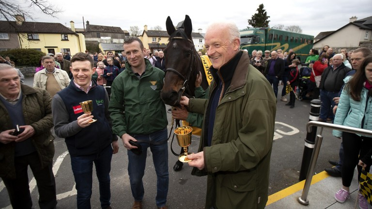 Gold Cup winner Al Boum Photo with Paul Townend, Brendan Kenny, Imran Haider and Willie Mullins at the Lord Bagenal Inn in Leighlinbridge