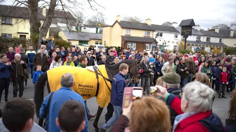 Gold Cup winner Al Boum Photo parades through the village of Leighlinbridge led by  Mark Rapple