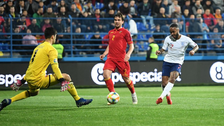 Raheem Sterling netted England's fifth against Montenegro
