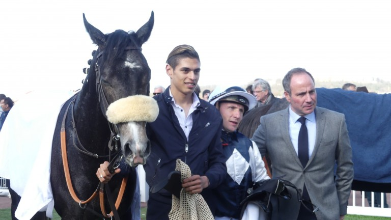Talk Or Listen with Stephane Pasquier and Frederick Rossi after winning the Listed Prix Francois Mathet at Saint-Cloud