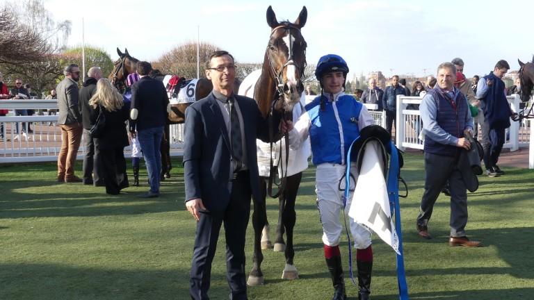 Folamour and Vincent Cheminaud after winning the Listed Prix de la Porte de Madrid at Saint-Cloud