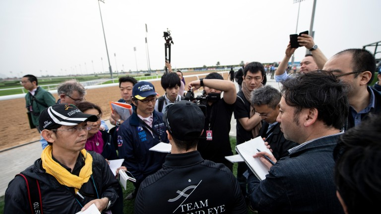 Christophe Lemaire speaks to the Japanese media at Meydan