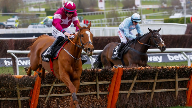 Samcro (left) wins last year's Ballymore Novices' Hurdle
