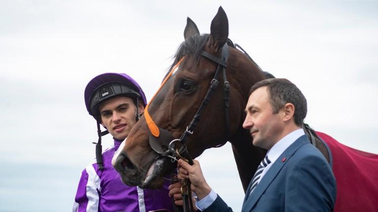 Donnacha O'Brien poses alongside Sergei Prokofiev after winning the Cork Stakes