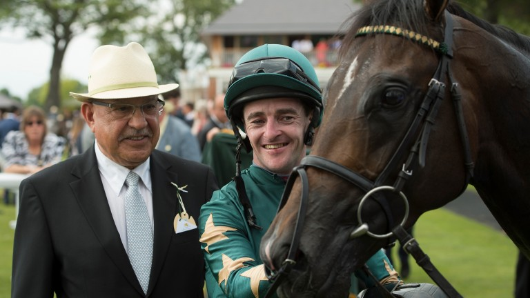 Tony Nerses (left) with jockey Graham Gibbons after Ajaya's success in the Gimcrack Stakes