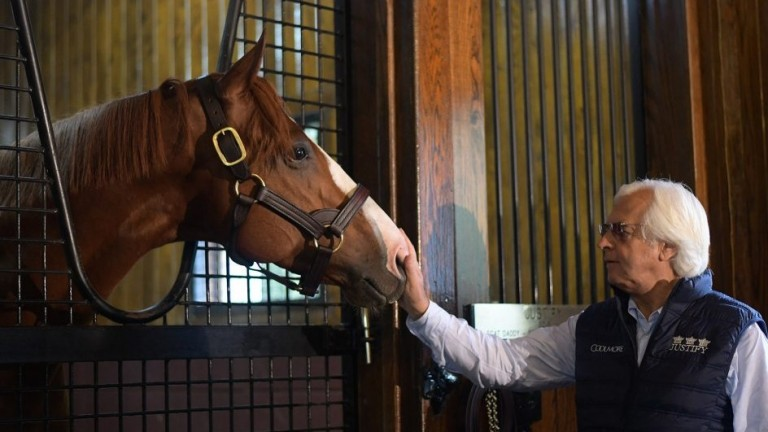 Justify, pictured with his trainer Bob Baffert, at Coolmore's Ashford Stud in Kentucky