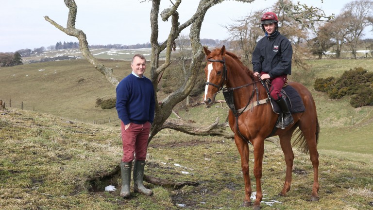 Jockey Sam Coltherd and his father Stuart at their farm in Selkirk
