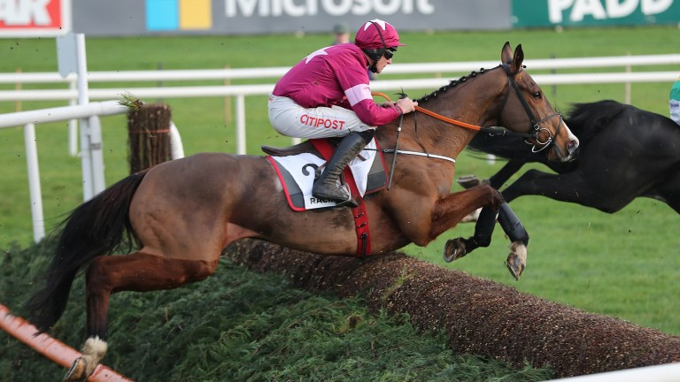 Mengli Khan clears a fence at Leopardstown last December