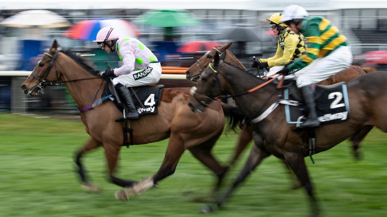 Faugheen (Ruby Walsh) lead the field in the Aintree Hurdle before being pulled upAintree 4.4.19 Pic: Edward Whitaker