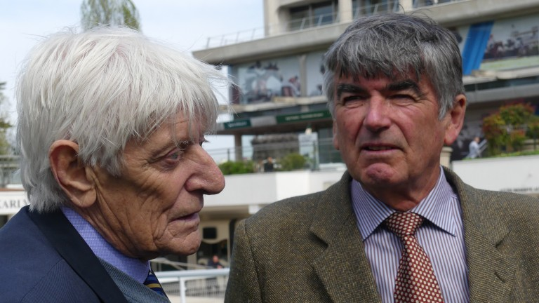 Jim Gordon (left): the late owner's two daughters were present at Catterick to witness Not On Your Nellie's victory