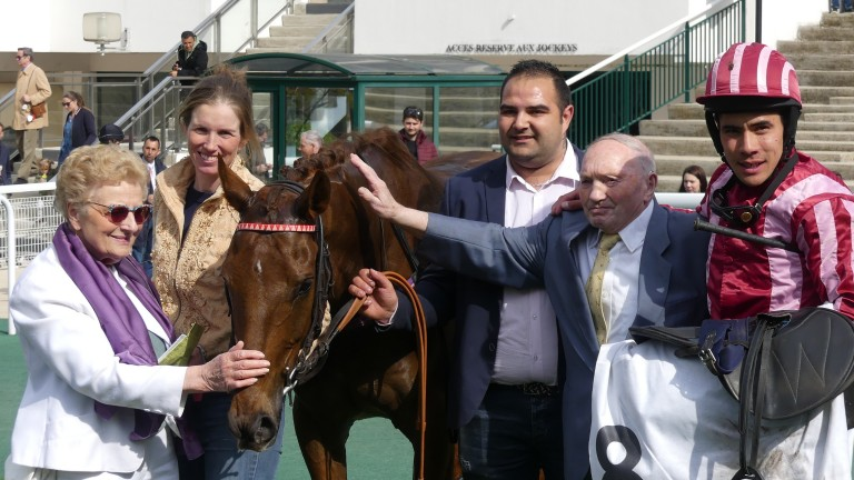 Louisa Carberry (2nd left) and Felix de Gilles teamed up for success at Auteuil with the talented Docteur De Ballon