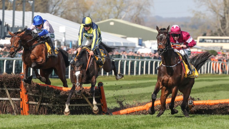 Apple's Jade (right) looked set to score at Aintree until collared by If The Cap Fits (centre) and Roksana