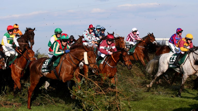 A scene from the 2019 Grand National won by Tiger Roll