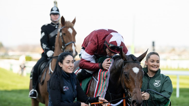 Well done my son: Davy Russell enjoys Tiger Roll's Grand National triumph