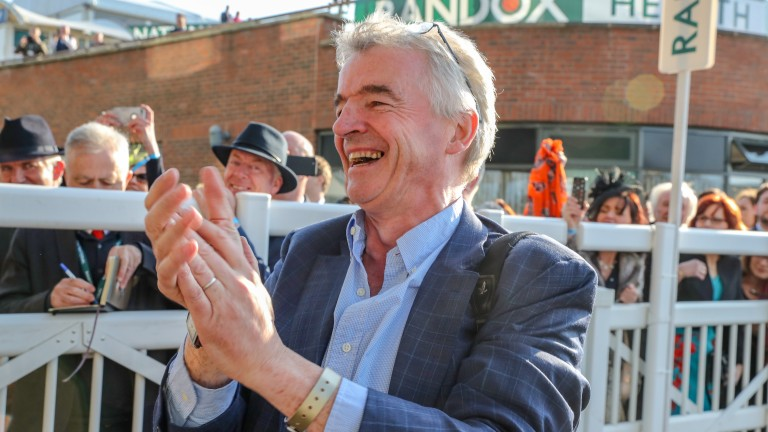 Michael O'Leary enjoys the moment after Tiger Roll's victory at Aintree