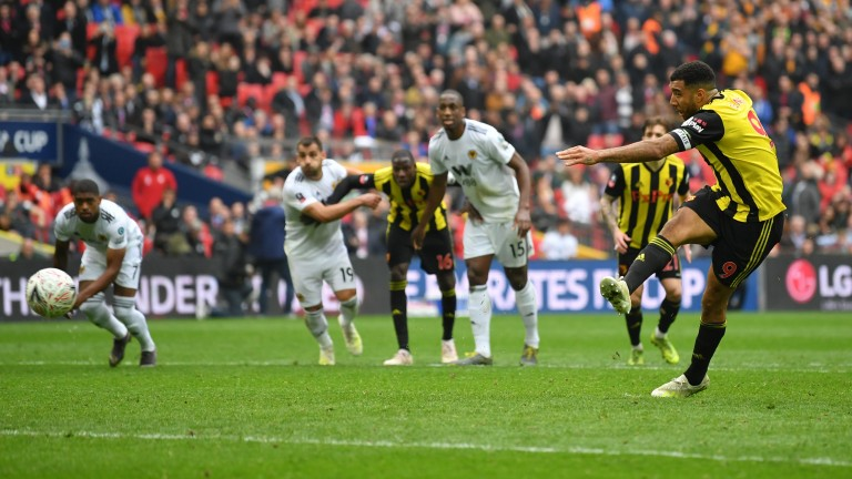 Troy Deeney scored the equaliser for Watford from the penalty spot against Wolves at Wembley
