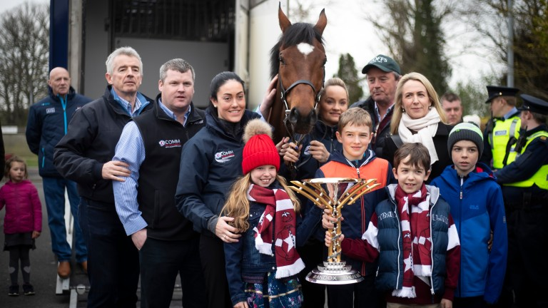 Tiger Roll is surrounded by his winning connections and families at Sunday's homecoming