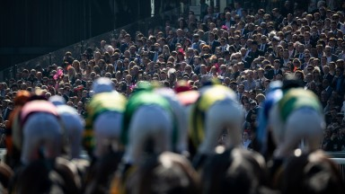 Racegoers look on as the runners in the stayers hurdle pass the standsAintree 6.4.19 Pic: Edward Whitaker