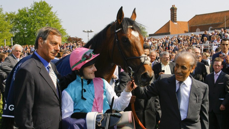Khalid Abdullah (right) with his breeding masterpiece, Frankel