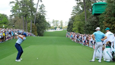 Rory McIlroy plays a shot during practice at Augusta National