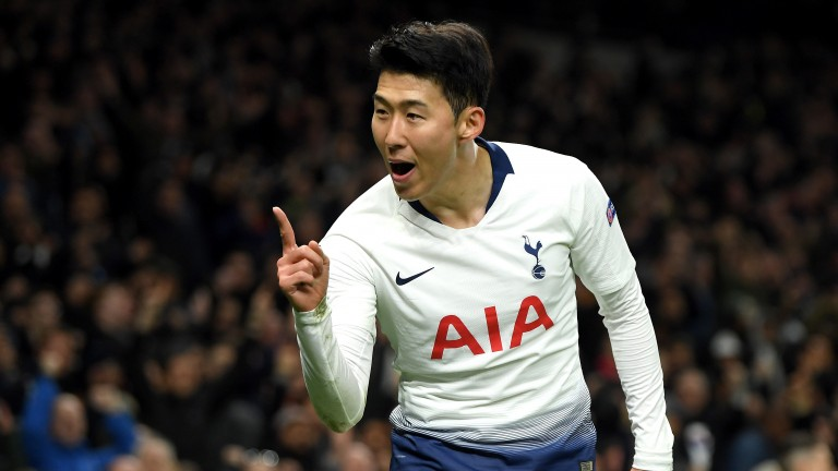Tottenham's Heung-Min Son celebrates his goal against Man City
