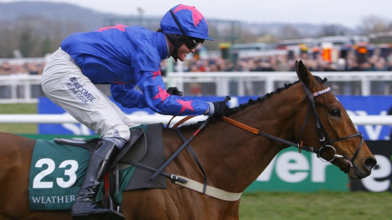 Cue Card and a smiling Joe Tizzard as they bolt up in the Champion Bumper