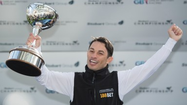 Silvestre de Sousa doing what comes naturally, celebrating another win in the jockeys' championship, in 2017