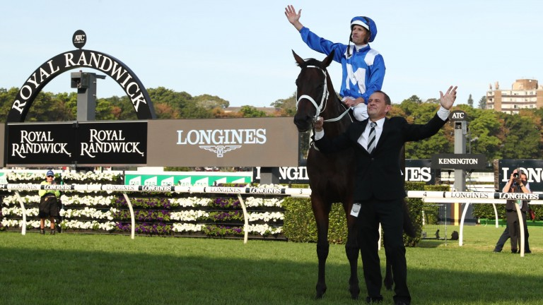 Hugh Bowman and Chris Waller look out to the packed grandstands after Winx's swansong triumph