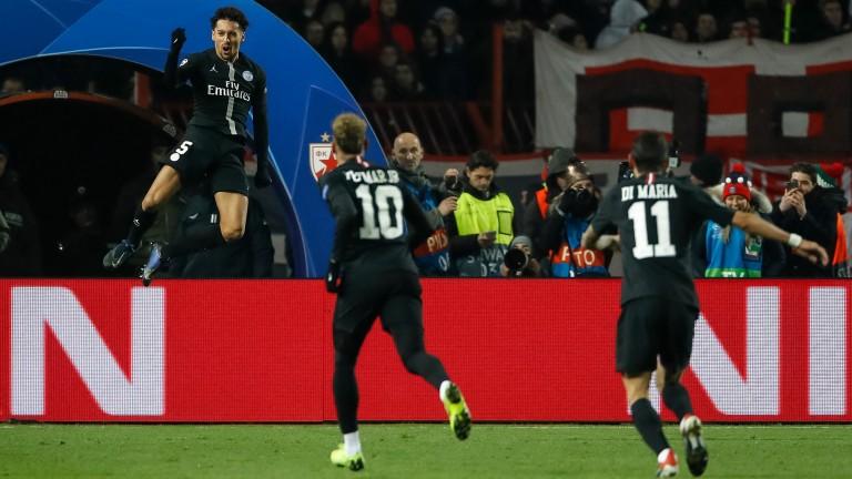 Marquinhos (left) of Paris Saint-Germain celebrates
