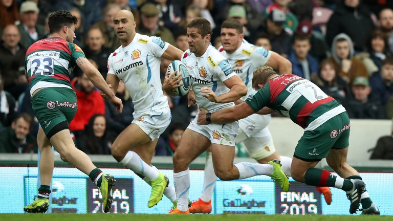 Exeter scored seven tries in a 52-20 demolition of Leicester