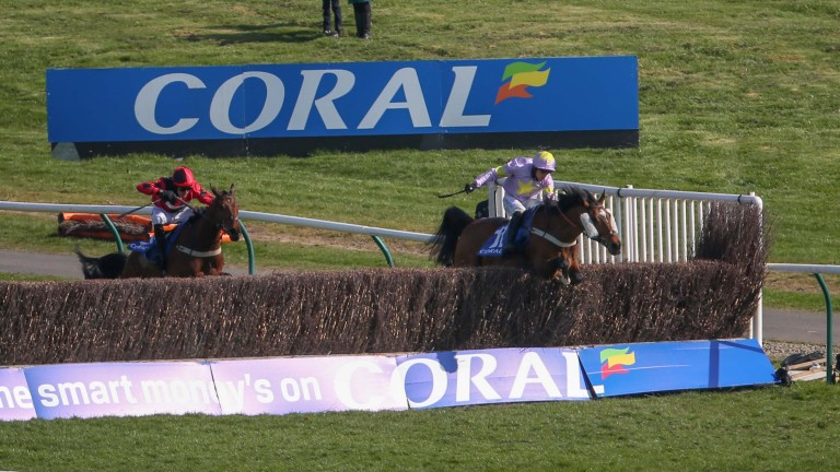 Takingrisks jumps clear of Crosspark on his way to victory