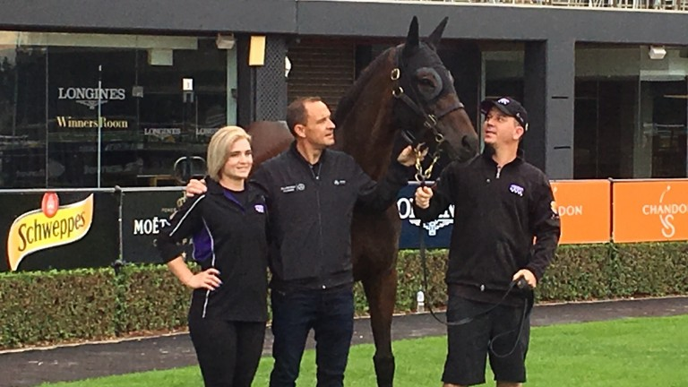 Winx appears in front of camera crews at Rosehill on Sunday alongside trainer Chris Waller and her strappers Umut Odemislioglu and Candice Persijn