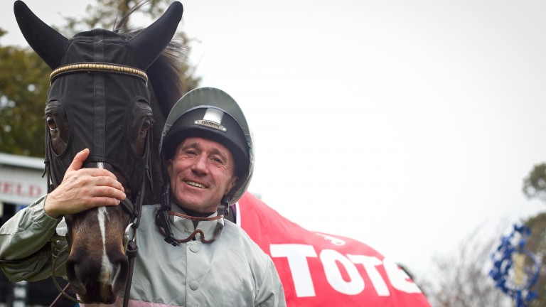 Jockey John Egan with Clondaw Warrior after winning the November Handicap at Leopardstown